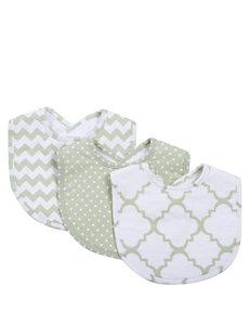 Trend Lab Green / White Bibs & Burp Cloths