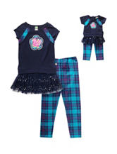 Dollie & Me 4-pc. Flower Top & Plaid Leggings Set - Girls 4-14