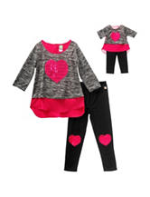 Dollie & Me 4-pc. Heart Patch Leggings Set - Girls 4-14