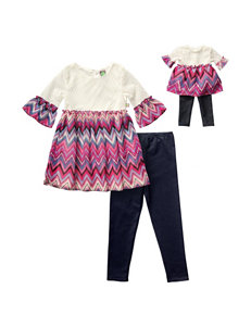 Dollie & Me 4-pc. Chevron Print Top & Jeggings Set - Girls 4-14