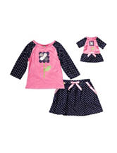Dollie & Me Polka Dot Top & Skirt Set - Girls 4-14