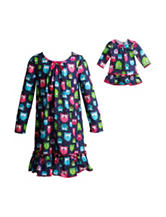 Dollie & Me 2-pc. Owl Print Pajama Gown - Girls 4-14