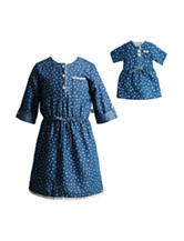 Dollie & Me Dot Print Chambray Dress - Girls 4-14