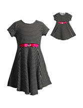 Dollie & Me Striped Print Dress - Girls 4-14