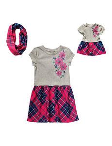 Dollie & Me Drop Waist Plaid Print Dress with Scarf - Girls 4-14
