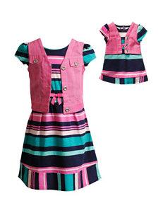 Dollie & Me Mock Vest Striped Dress - Girls 4-14