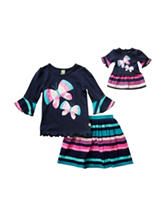 Dollie & Me Butterfly Top & Stripe Print Skirt Set - Girls 4-14