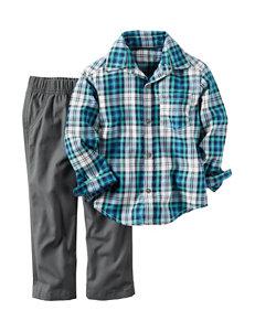 Carters® 2-pc. Plaid Shirt & Grey Pants Set - Baby 12-24 Mos.