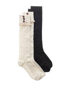 Capelli 2-pk. Button Textured Knee Socks - Girls