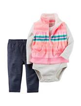 Carters® 3-pc. Stripe Print Vest & Jeggings Set - Baby 0-24 Mos.