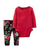 Carter's® 2-pc. Red Lace Bodysuit & Leggings Set - Baby 0-18 Mos.