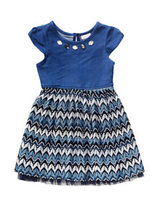 Youngland Chambray Chevron Print Dress - Toddlers & Girls 4-6x