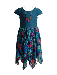 Youngland Multicolor Chiffon Dress with Necklace - Girls 4-6x