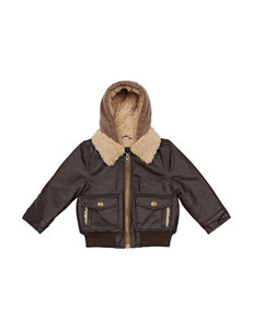 London Fog Sherpa Faux Leather Jacket - Toddler Boys