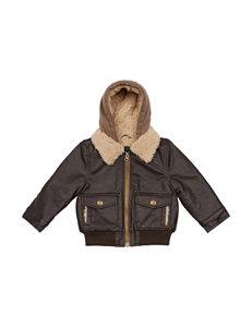 London Fog Sherpa Faux Leather Jacket - Boys 4-7