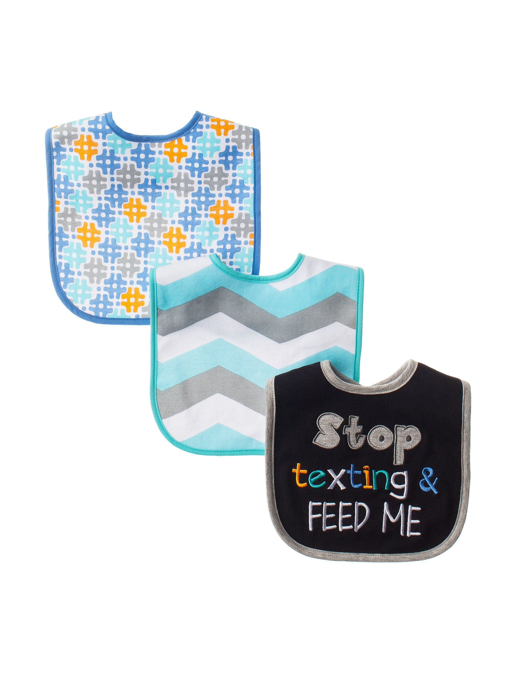 Baby Essentials Black / Green Bibs & Burp Cloths