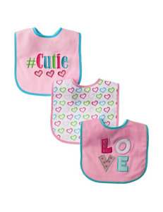 Baby Essentials Pink Bibs & Burp Cloths