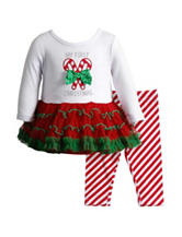 Youngland 2-pc. My First Christmas Top & Leggings Set - Baby 3-9 Mos.