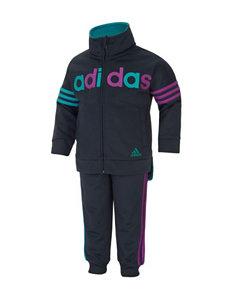 adidas® 2-pc. Two-Tone Tricot Jogger Pants & Jacket Set - Girls 2-6x