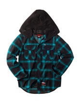 No Fear Black Hooded Plaid Flannel Shirt - Boys 8-20