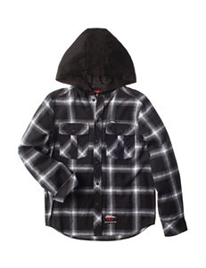 No Fear Black Hooded Flannel Shirt - Boys 8-20
