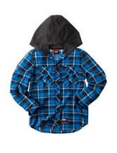 No Fear Blue Plaid Hooded Flannel Shirt - Boys 8-20