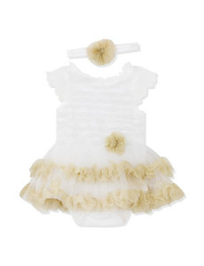 Baby Essentials Ivory Gold Tutu Dress with Headband - Baby 3-9 Mos.