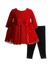 Youngland 2-pc. Red Mesh Top & Leggings Set - Baby 12-24 Mos.