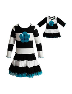 Dollie & Me Striped Print Drop Waist Dress - Girls 4-14
