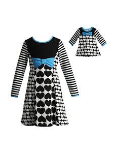 Dollie & Me Heart & Stripe Dress - Girls 4-14