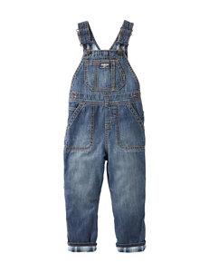 OshKosh Bgosh® Denim Blue Plaid Lined Overalls - Baby 3-24 Mos.