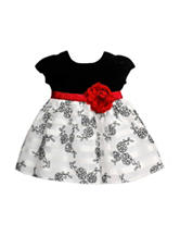 Youngland Black Ivory Shadow Dress - Baby 12-24 Mos.