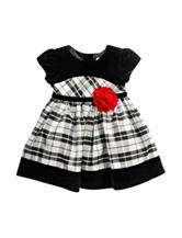 Youngland Black & White Plaid Print Dress - Baby 12-24 Mos.