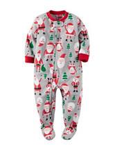 Carter's® Santa Print Footed Fleece Pajamas - Boys 10-12