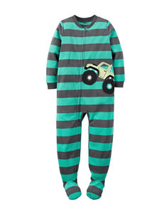 Carter's® Striped Print Footed Fleece Pajama - Boys 10-12