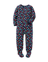 Carter's® Heart Print Footed Fleece Pajama - Girls 4-8