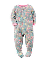 Carter's® Floral Print Footed Fleece Pajamas - Girls 4-8