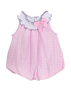 Rare Editions Pink & White Plaid Print Bubble Dress - Baby 3-12 Mos.