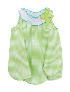 Rare Editions Bright Green Seersucker Bubble Dress – Baby 3-9 Mos.