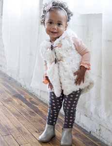 Little Lass 3-pc.Faux Fur Vest & Leggings Set - Baby 12-24 Mos.