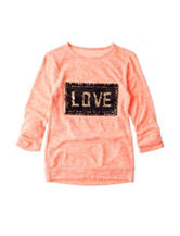 Miss Chievous Sequin Love Print Hacci Top - Girls 7-16