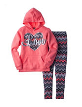 Star Ride 2-pc. Heart Print Hoodie & Chevron Leggings - Girls 7-16
