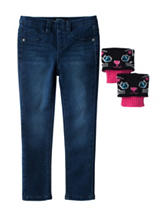 Squeeze Dark Wash Jeggings with Cat Leg Warmers - Girls 4-6x
