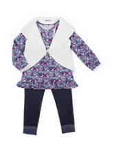 Little Lass 3-pc. Sweater Vest & Jeggings Set - Girls 4-6x