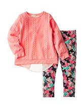 Self Esteem 2-pc. Cable Chiffon Top & Floral Leggings Set - Girls 4-6x