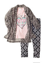 Self Esteem 3-pc. Cardigan & Leggings Set - Girls 4-6x