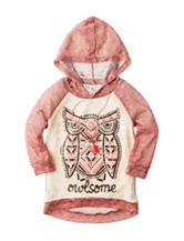 Beautees Crochet Hi-Lo Owl Print Hoodie Top with Necklace - Girls 7-16