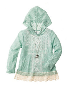 Beautees Embroidered Hoodie Top with Necklace - Girls 7-16