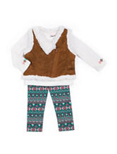 Little Lass 3-pc. Sherpa Vest & Leggings Set - Girls 4-6x