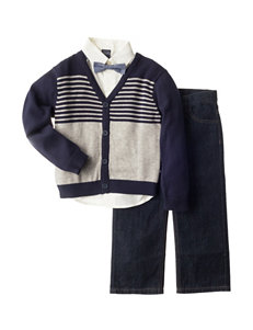 Nautica 3-pc. Bow Tie Shirt & Pants Set with Cardigan - Toddler Boys